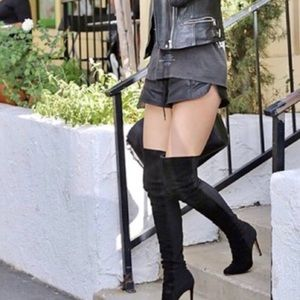 Lilianna black Knee high suede boots